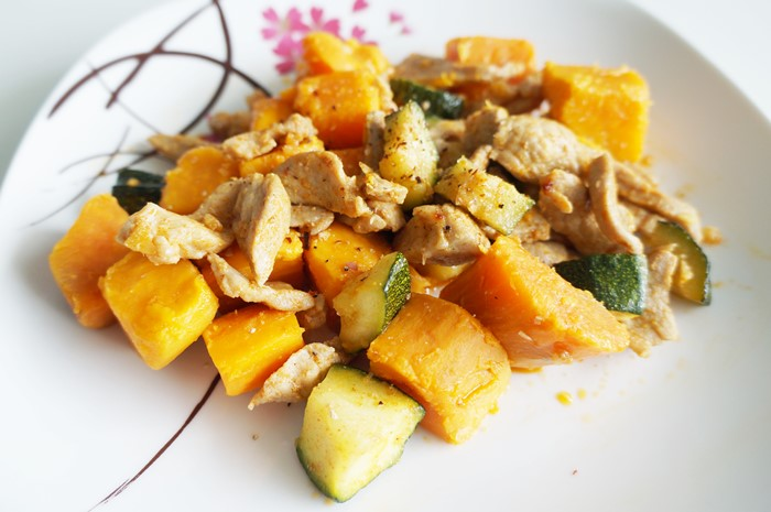 Chili-Garlic-Ginger Pork with Zucchini and Sweet Potato
