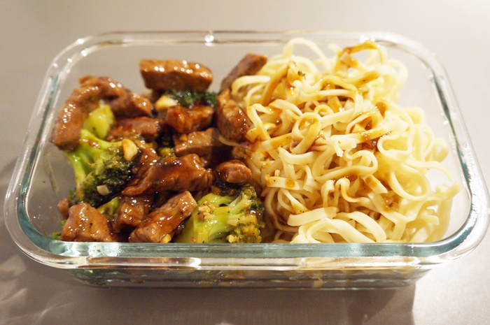 Garlic Honey Teriyaki Beef with Broccoli and Asian Egg Noodles